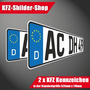 2 Autokennzeichen für KFZ, von jeder Zulassungsstelle in BRD anerkannt in 520mm