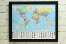 Cork Pin Board World Map And Flags Framed Includes Pins