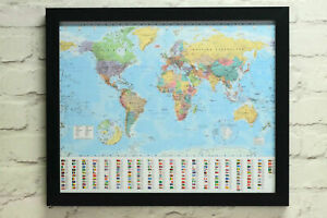 World Map And Flags Poster Framed Cork Pin Board