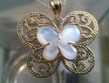 10 K Gold Butterfly Mother Of Pearl Inlayed Pendant- 53% off Retail Price