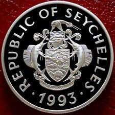 1993 Seychelles Silver Proof 25 rupees coin Queens Coronation Royal Mint + COA
