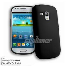 Black . Samsung Galaxy S3 Mini i8190 Rubber soft Gel Silicone Case Skin Cover
