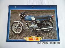 CARTE FICHE MOTO YAMAHA XS 400    1978