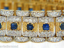 █$14000 10.00CT NATURAL SAPPHIRE DIAMOND BRACELET EDWARDIAN REVIVAL DECO 14KT█