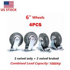 4pcs 4 6 Heavy Duty Swivel Caster Wheels Industrial Rubber Ball Bearing