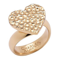 Alchemía By Charles Albert Goldtone Hammered Heart Ring Size 6 Hsn !