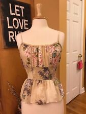 FIRE LOS ANGELES Beige Floral 💐 Slim Waist Cami/ Tank Top- MED - FREE SHIPPING!