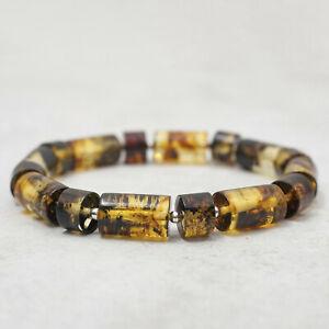 Green Amber Bracelet for Men Beaded Sterling Silver Bracelet for Him Amber Gift
