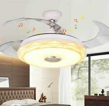 """New ListingModern Unique 42""""Invisible Bluetooth Led Chandeliers Ceiling Fans w/Music Player"""