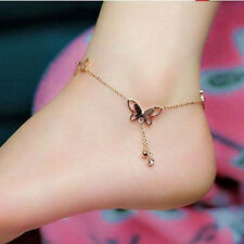 Women 18K Rose Gold Ankle Chain Barefoot Sandal Beach Foot Butterfly Anklet Gift