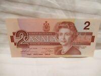 BANK OF CANADA CRISP TWO DOLLAR BILL 1986