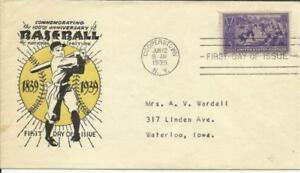 US BASEBALL First Day Sc#855 Coulthard Cachet Cooperstown Jun/12/1939