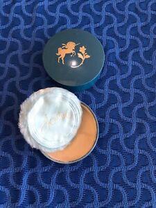 Blue w/Unicorn Vintage Revlon Jontue Body Powder 1 oz Trinket Box HALF FULL! Old