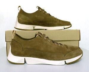 New Men's Clarks Tri Spark Shoes Sneakers Khaki Nubuck