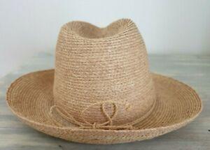Helen Kaminski Natural Plaited Raffia Brim Fedora Trilby Cowboy Beach Hat - EUC
