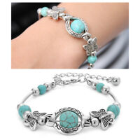 Fashion Women Natural Stone Turquoise Beaded Turtle Charm Bracelet Lucky Gifts