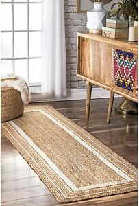 indian hand braided jute runner rug natural with white color border floor rugs