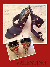 Valentino Garavani CRYSTAL & CORAL Trimmed Evening SANDALS HEELS SHOES 38.5*