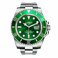 LOREO 'Hulk' Green Automatic Movement All Stainless Divers Watch - Brand New