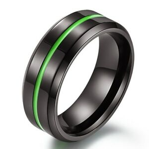 8mm Black Plating Titanium Steel Band Men Blue/Green/Rose Red Enamel Ring Sz7-12