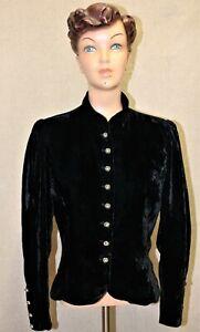 Veste femme cintrée vintage 80's UNGARO velours velvet noir 42 FR made in Italy