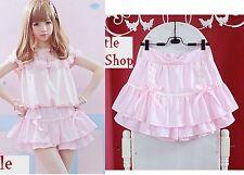 Sweet Cute Kawaii classical Chiffon Lace BOWS Stripe Mini shorts Skirts Pink