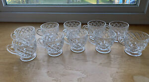Westmoreland Gillinder & Sons 10 Punch Cups Footed Clear Block Swirl 1890