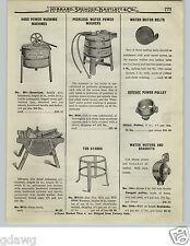 1919 PAPER AD Wooden Hydraulic Water Power Washing Machine Horton + Motor