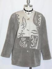 LEATHER and LINEN JACKET Coat Women German Winter Hunting Western Coat GRAY M