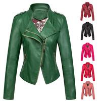 Chouyatou Women Candy Color Asymmetric Zip Faux Leather Halloween Moto Jacket