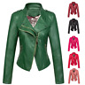 Chouyatou Women Candy Color Asymmetric Zip Faux Leather Halloween Moto Jacket