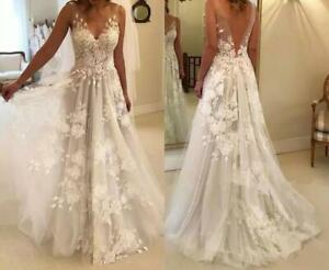 Sexy A Line Lace Appliques Wedding Dress V Neck Backless Bridal Gown Custom Made