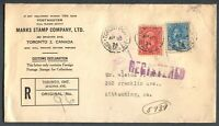 CANADA MULTIPLE FRANKING FOREIGN DESTINATION REGISTERED COVER TO KITTANNING, PA.