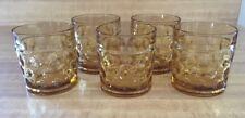 Vintage Flat Bottom Amber Glass Thumbprint 6 oz Rocks Lowball Tumbler Set Of 5