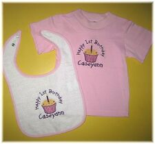Personalized 1st 2nd 3rd or Any Birthday Cupcake T Shirt & Bib Set Boy or Girl