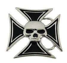 Mens Womens Skull Belt Buckle Skeleton Chopper Tribal Gothic Tattoo Metal Silver