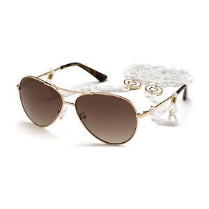 GUESS Damen Pilot Sonnenbrille GU7641 32F Gold / Braun 60-13-135 mit Halskette