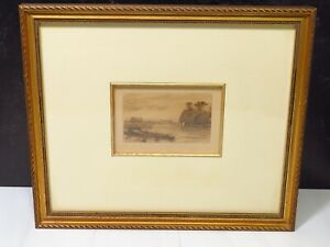 Plate Signed Framed Etching WILFRED W BALL Baits Bite Lock England UK Cambridge