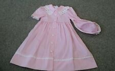 PEACHES 'N CREAM Girls PINK Short Sleeved Dress w/HAT NEW Size 5 Tall Lace