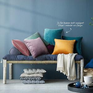 2× Kissenbezug Kissenhülle velvet Samt Luxus 50x50 Multi Farben mit Paspel Rand