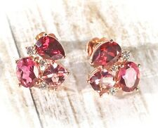 14K Rose Gold Rhodolite Garnet, Pink Topaz & Tourmaline1/6 CTW Diamond Earrings
