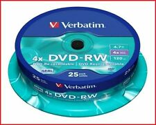 Verbatim DVD-RW 4.7GB 4x Speed 120min Rewritable Discs Spindle Pack 25 (43639)