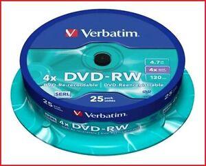 Verbatim DVD-RW 4.7GB 4x Speed 120min Rewritable Discs Spindle Pack 25 (43639)
