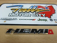 Chrome & Black HEMI Nameplate Emblem Chrysler Dodge Jeep Ram Mopar OEM
