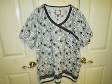 0ad610f66e5 Mary Engelbreit Uniform Scrub Shirt 2XL EUC Black & White Floral 100% Cotton