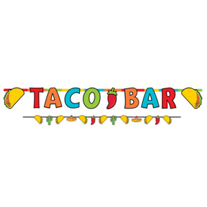 FIESTA TACO BAR HANGING BANNER 2 PIECE SET BUNTING PARTY DECORATIONS MEXICAN