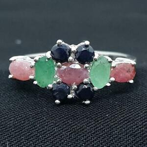 World Class 1.75ctw Ruby, Emerald, Sapphire 925 Sterling Silver Ring Size 5.5