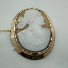 Lovely Antique 9ct Gold Mounted Carved Cameo Brooch