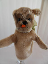 Steiff dog hand puppet Mops Bully mohair  button/flag made in Germany 2012