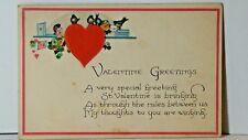 Vintage VALENTINE GREETING #3002 USA 1926 Post card Hearts & Bluebirds